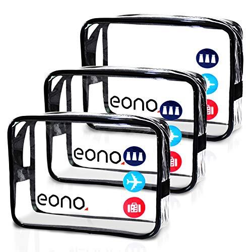 Amazon Brand - Eono Beauty Case da Viaggio Clear Borsa da Viaggio Impermeabile Cosmetici Trousse Trasparente Toiletry Bag Kit da Aereo per Liquidi Unisex Sacchetti di Trucco - Trasparente, 3-Pcs