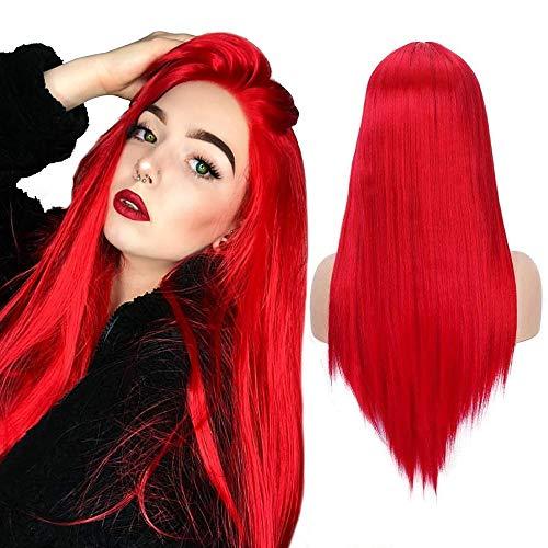 Parrucca lunga diritta parrucca rossa setosa con attaccatura dei capelli naturale parte centrale parrucca sintetica per feste di Halloween per donne ragazze (22 pollici)