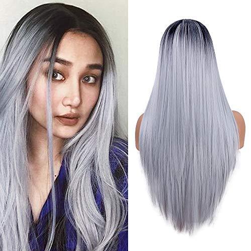 Lungo rettilineo parrucche per le donne, Silver Gray ombre parrucca sintetica resistente al calore medio Part parrucche (22 pollici/55,9 cm)