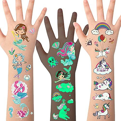 Tatuaggi per Bambini,Tatuaggi Temporanei per Bambini, Tatuaggi per Unicorno, Tatuaggi Sirena,10 Fogli Tatuaggio Luminoso Bagliore nel Buio,Tatuaggi per Ragazze,Tatuaggi Adatti per Compleanno Bambini