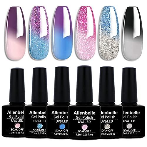 Allenbelle Smalto Semipermante Per Unghie Kit In Gel Uv Led Smalti Semipermanenti Per Unghie Nail Polish UV LED Gel Unghie(Kit di 6 pcs 7.3ML/pc) (0016)