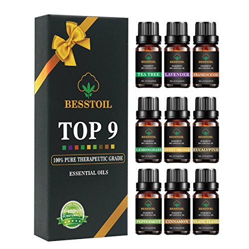 Oli essenziali set TOP9 Besstoil terapeutico grade Aromaterapia 100% puro olio profumato aromaterapia regalo lavanda incenso Tea Tree eucalipto citronella menta piperita arancia dolce cannella ylang
