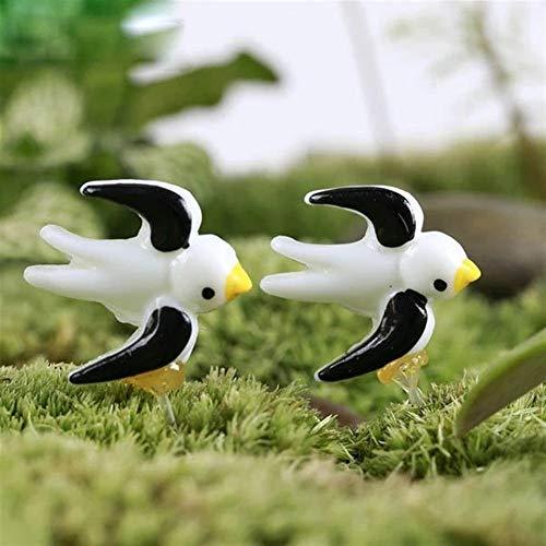 ChengBeautiful Statua dell'ornamento del Giardino Giardino Fai da Te Decor 2pcs Mini Rondine Micro Tatuaggi Paesaggio (Color : Black, Size : 2pcs)