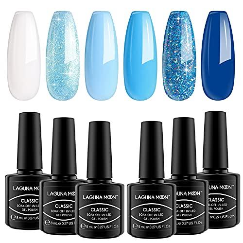 Lagunamoon Smalto per Unghie in Gel UV LED, 8ml 6 Colori Kit Attraverso il Cielo, Smalto per Unghie Soak off per Manicure fai Da Te e Uso in Salone