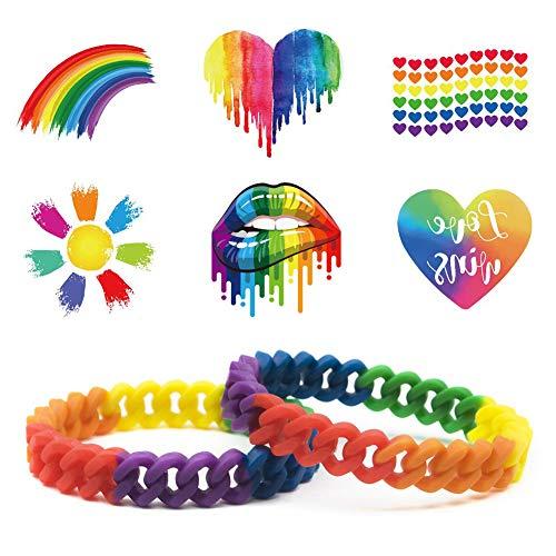 2 Pezzi Bracciale LGBT & 6X Pezzi Pride Bandiera Tatuaggi temporanei, Arcobaleno Silicone Bracelet Gioielli per Donna Uomo Pride Month Parade