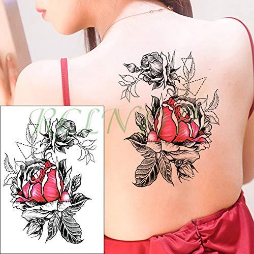 Handaxian 3pcs Impermeabile Tatuaggio Autoadesivo Inchiostro Rosa peonia Foglia Tatuaggio giroscopio Tatuaggio di Grandi Dimensioni Femminile Tatuaggio Maschile 3 pz-24