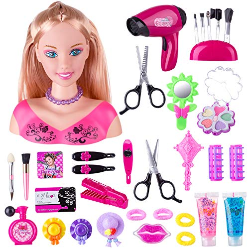 MAJOZ0 Trucco e Parrucco per Bambina,Girls Hair Styling Dream Girl Dolls Head Play Set,Con Asciugacapelli
