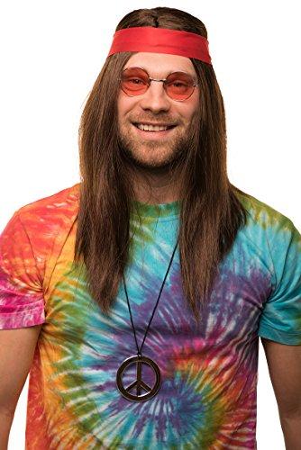 Balinco Set Hippy con Parrucca + Occhiali da Sole Rotondi + Ciondolo della Pace + Fascia Rossa | per Donne e Uomini | Anni '70 | per Il Carnevale