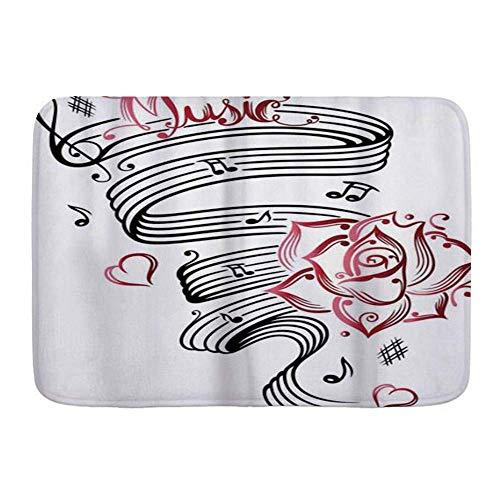 Zerbini, disegno a matita per tatuaggi, clessidra romantica, simbolo dell'amore eterno con rose, musica, pavimento della cucina, tappetino da bagno, tappetino assorbente, arredo bagno interno, zerbino