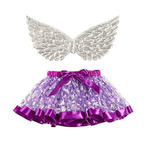OBEEII Costume da Fata per Bimba - Vestito in Maschera per Bambine - Ali da Farfalla, Bacchetta Magica e Fascia per Capelli - Vestito con Ali da Farfalla per Bambine