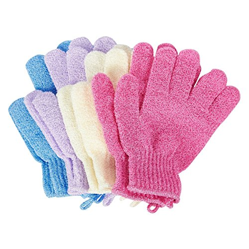 Juvale, guanti da doccia esfolianti (4 paia), per donne e uomini (4 colori)