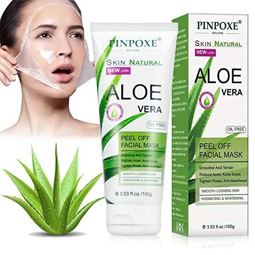 Maschera Aloe, Maschera Anti-comedone, Maschera Anti-acne, Maschera Esfoliante, Maschera al Cristallo di Comedone Acne Estratto di Aloe, Maschera Detergente Anti-età Poro Profondo