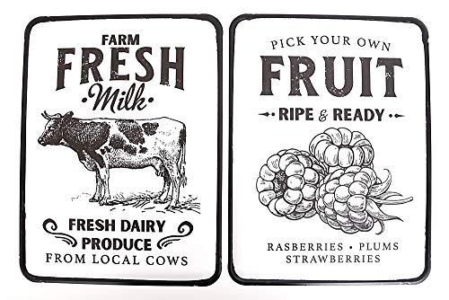 F&G Supplies Delizioso paio di placche da parete smaltate in stile retrò raffiguranti prodotti agricoli freschi, ideali per cucine, caffè e sale da pranzo, 41 cm di altezza.