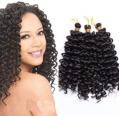 SEGO Extension Capelli Corti Ricci 3 Bundles Matassa Tessitura Nero Naturale Treccine Crochet Water Wave Ondulata Braiding Hair Mossi Sintetici 90g 20cm