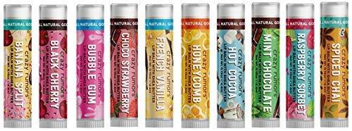Crazy Rumors 'Flavourites Mix' - Confezione da 10 balsami per le labbra, vegani e 100% naturali