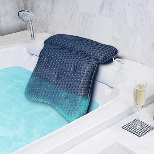 tomight Cuscino da Bagno, Cuscino Poggiatesta per Vasca con 6 Ventose Poggiatesta Ergonomico per Home Spa, Relax per della Testa, Schiena e Spalle, Blu