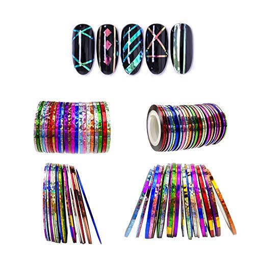 Rotolo di nastro di 42 colori multicolori multicolori per strisciare, rotolo multicolore per decorazione unghie fai da te.