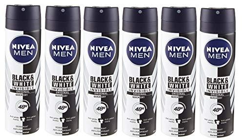 Nivea Men Black & White Invisible Original Deodorante Uomo Spray, in Confezione da 6 x 150 ml, Antialoni, Anti-Traspirante Freschezza per 48 H