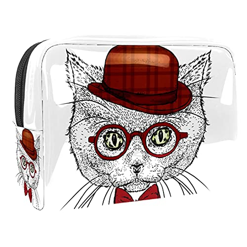 Cosmetic Bag for Women Cat Glasses Adorable Roomy Makeup Bags Travel Waterproof Toiletry Bag Accessories Organizer 7.3x3x5.1 Inch