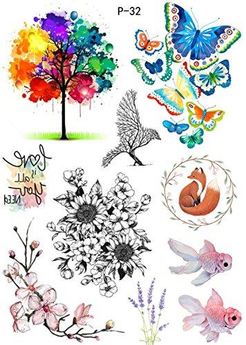 Tatuaggi colorati, ad acqua, farfalla, fiori, albero, tatuaggio da incollare, P32