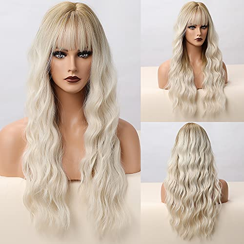 HAIRCUBE Lunga parrucca bionda Wavy per le donne, Wig Synthetic capelli naturali con airBangs Full Wigs Daily and Party Use