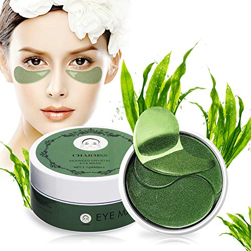 Maschera per gli occhi, Eye Mask, Maschera d'occhio del collagene, Alghe occhi Pads, Eye Patch,Anti-rughe, anti età, cerchi scuri ed elimina le borse per gli occhi, 60 Patches(verde)