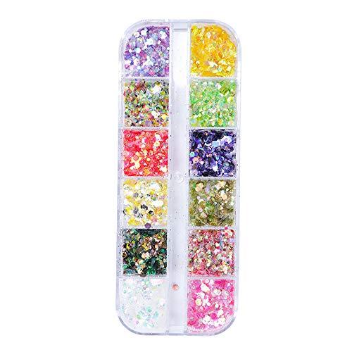 Jie Du - Set di 1 scatola di glitter per unghie miste iridescenti con paillettes esagonali, set per trucco da festival