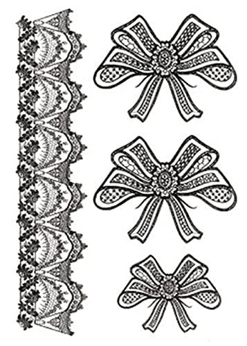 Motivo Pizzo Fiocco 15X21cm-10Pcs Tatuaggi Finti Adesivo Per Body Art Tatuaggio Temporaneo Impermeabile Per Ragazzi Ragazze Regalo Stuffers Forniture Per Bomboniere