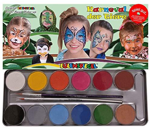 Specchio del gufo in metallo per trucco palette Carnevale degli Animali 15pezzi (12X colori, 2X Pennello, 1X Custodia in metallo)