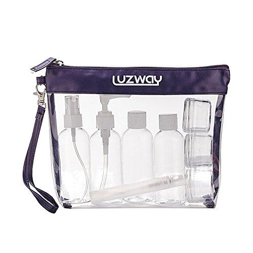 Beauty Case da Viaggio + 8 Bottiglie da viaggio (Max.100ml), LUZWAY Trousse Trasparente, Busta da Viaggio Trasparent, Set da Viaggio per Cosmetici, Kit da Aereo per Liquidi, Set da viaggio PVC Blu