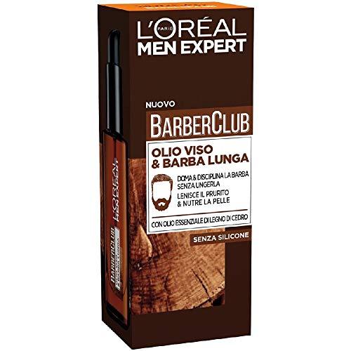 L'Oréal Paris Men Expert Barber Club, Olio Viso e Barba Lunga, Con Olio Essenziale di Legno di Cedro, 30 ml