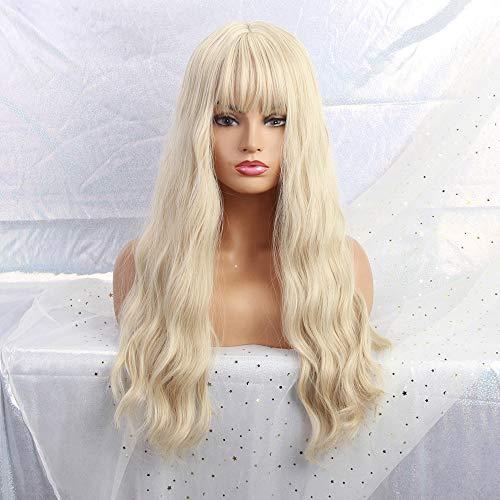 MISHAIR Parrucche donna con frangia capelli lunghi e ricci Capelli sintetici Moda Parrucca donna 26 pollici per la vita quotidiana 26 pollici Bionda