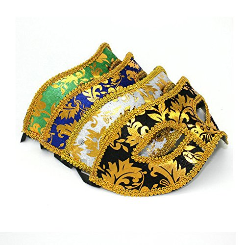 Baanuse 4Pcs Veneziane Masquerade Viso Maschera per Costume Halloween a Sfera A