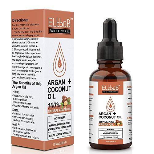 Olio di Argan + Olio di Cocco Puro e Naturale, Antiossidante, Vegan - Siero Rinforzante e Idratante per Capelli, Pelle, Corpo e Unghie