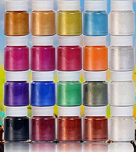 DEWEL Polvere di Mica Pigmenti per Resina Epossidica Colorante per Slime Mica Polvere Perlato 20 Colori * 10 g
