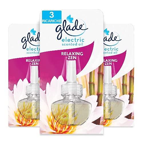 Glade Diffusore di Oli Essenziali Elettrico, Ricarica, Fragranza Relaxing Zen, Confezione da 3 Ricariche, 20 ml
