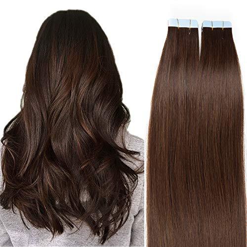 SEGO Extension Biadesive Capelli Veri Biadesivo 20 Fasce Adesive Tape Extensions per Capelli Sottili 30g/Confezione Remy Human Hair (40cm, 4 Marrone Cioccolato)