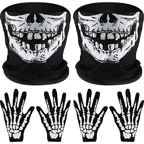 2 Set Bianco Scheletro Guanti e Teschio Viso Mezzo Maschera Ossa Fantasma per Adulti Halloween Ballo Costume Festa