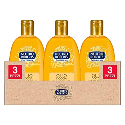 3x Neutro Roberts Olio Doccia con Olio Naturale di Argan Nutrimento Intenso - 3 Flaconi da 250ml ognuno