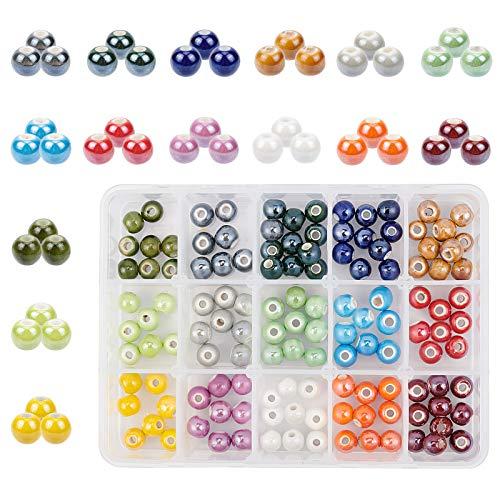 PandaHall 15 Colori 8mm Perline di Porcellana Fatti a Mano tondi Perline di Porcellana perlati Charms con Foro da 2mm per Braccialetto Intrecciato, Collana, orecchino, 150 Pezzi