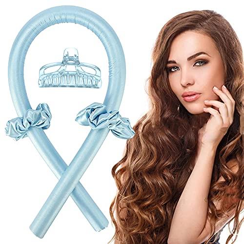 Nastro riccio senza calore,Riccioli senza calore,Set arricciacapelli senza calore,arricciacapelli + anello per capelli + fermaglio per capelli,Bigodino di capelli di seta (blu)