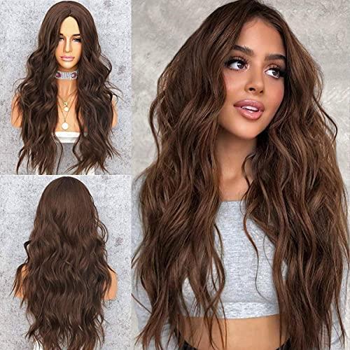 YEESHEDO Parrucca donna marrone scuro lunga riccia, parrucche capelli naturale lunghi ricci ondulati capelli dark brown wig 26 pollici