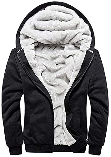LEZUAN Felpa con Cappuccio Uomo Inverno Caldo Hoodie con Cerniera Integrale Felpe Uomo Manica Lunga Pullover Giacca di Spessore Cappotto in Pile Foderato(Nero,L)
