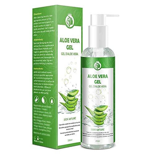Aloe Vera Gel Puro 100% Gel Aloe Vera - Gel di Aloe Vera Naturale per Viso, Corpo, Mani e Capelli Idratanti e Lenitivi - per Acne e Scottature 250 ML