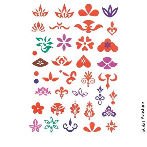 AVASTORE - Tatuaggio temporaneo da donna, fiore di loto e giglio a forma di cuore, punto 36 Minimalisti Tattoo, per il trucco, dinastia, tatuaggio temporaneo, da donna, fiore di loto