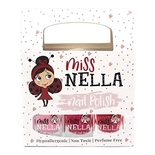 Miss Nella rosa glitter pacco di 3 colori Cheeky Bunny, Tickle Me Pink, Sugar Hugs molto brillante, smalto per bimbe a base acqua, Formula peel off-