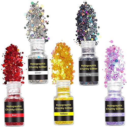 WUYOO Set di 5 scatole di polvere glitterata per decorazioni per festival, fai da te, nail art, viso, unghie, occhi e labbra