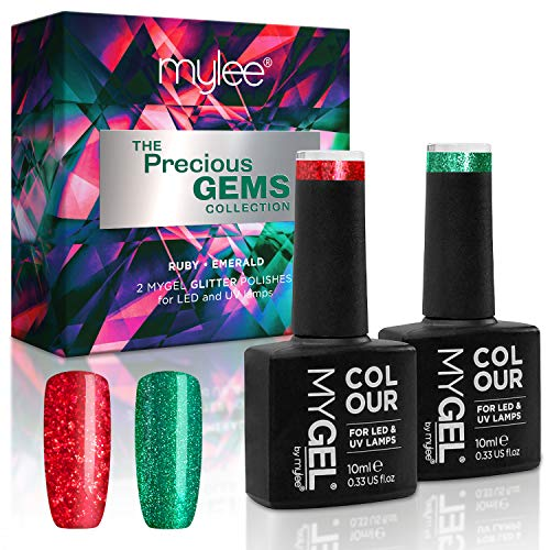Mylee Collezione gemme preziose, Esclusivo set natalizio di colori MYGEL, Kit di smalti per unghie gel UV LED - Glitter rosso rubino e verde smeraldo