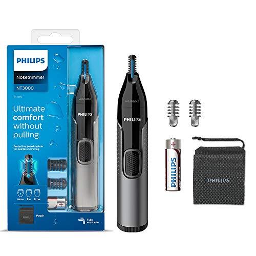 Philips Naso Hair Trimmer, Serie 3000 Naso, Orecchio e Sopracciglio Trimmer Impermeabile con Sistema di Protezione Protezione Funzionamento a Batteria, Senza Trazione Garantita - NT3650/16