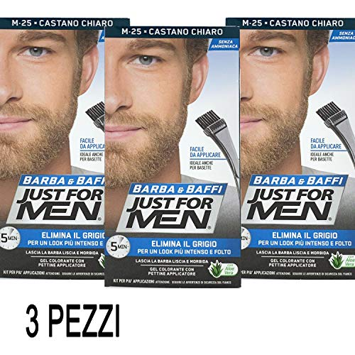 3 X JUST FOR MEN BARBA E BAFFI COLORE TINTURA UOMO PERMANENTE CON PENNELLO SENZA AMMONIACA CASTANO CHIARO M 25 2X 14 ML